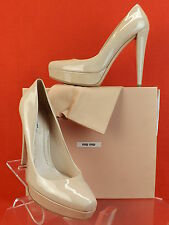 NIB MIU MIU PRADA NUDE BLUSH  PATENT LEATHER CLASSIC PLATFORM PUMPS 41 10 $600