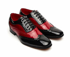 Mens Leather Lined Black Red White Gangster Brogue Party Shoes in UK Size 6-12