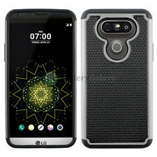 Hybrid Rugged Rubber Protector Matte Hard Case Cover Skin for Android LG G5 Gray