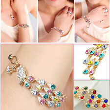 Colorful Rhinestone Crystal Peacock  Bracelet Fashion Women Bangle Jewelry Gift