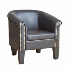 Barrel Design Club Tub Arm Chair Contemporary Rivets PU Leather Room Seat Brown