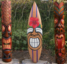 Tribal Tiki Mask Package Deal Hibiscus, Sun Wood Patio Tropical Bar 40""