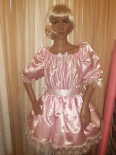 Sissy Adult Baby Pink Satin Dress with Fitted Underskirt