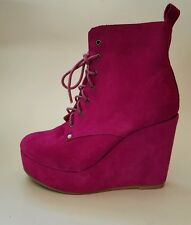 STEVE MADDEN PINK PLATFORM WEDGE ANKLE BOOTS SUEDE LACE UP SIZE 8 #W35