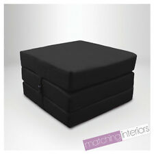 Black Splashproof Wipe Clean Fold Out Cube Mattress Guest Z Bed Chair Bed Futon