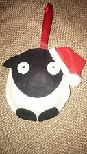 SHEEP in a SANTA HAT handcrafted felt Christmas tree decoration NEW