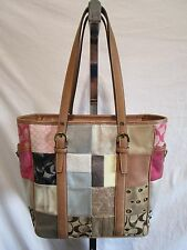COACH 10001 Med. Sz. Signature Patchwork Leather Shoulder Satchel Tote Handbag