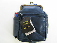 Blue Genuine Leather Snap Cigarette Case. 2 Zipper Pockets 1 Lighter Pouch 100's