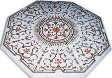 4'X4' White Marble center Table Top Inlay Handmade Home Decor Christmas Gifts