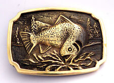 Nature Fishing Vintage 1970's BTS Solid Brass Belt Buckle
