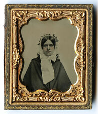 1/9 PLATE AMBROTYPE PHOTO - YOUNG WOMAN IN BONNET BY S. SHATTUCK, LOWELL, MASS.