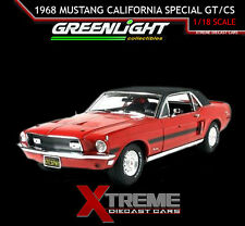 GREENLIGHT MMC 12802-06R RED 1:18 1968 FORD MUSTANG CALIFORNIA SPECIAL GT/CS CAR