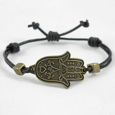Khamsa, Hamsa, Hand of Fatima Bracelet Antique Bronze Black Leather