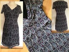 Esprit Kleid lila blau grau gemustert tailliert Volant Stil Gr S Top Zustand