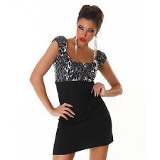 Kurzarm Kleid Minikleid mit Leoparden Muster Leo Look Schwarz Creme Gr. 34 36 38