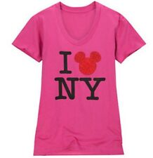 NEW Disney Store Pink I Love New York Mickey Mouse Womens Tee Shirt Size Small