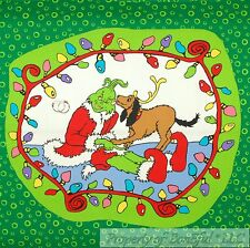 BonEful Fabric Cotton Quilt Block Square Dr Seuss Grinch Dog Xmas Large Applique