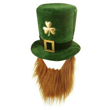 Dark Green St Patrick's Day Novelty Fancy Dress Leprechaun Hat with Beard