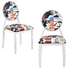 [en.casa]® Polsterstuhl 2er-Set weiß Patchwork Stuhl Design bunt Retro Sessel