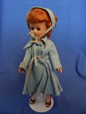 Vogue Jill 1957 W/  Blue Leather Raincoat #7553 Hat, Coat, Belt, Shoes, Pearls