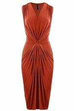 New Womens ladies sexy gathered front rust midi dress size 12