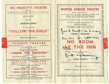 Ruth Dunning autograph signed programme 1946 Welsh actress No Room At The Inn