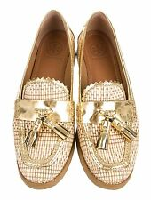Tory Burch Careen Loafers Raffia Flats Shoes Tassels Gold 7.5M $295
