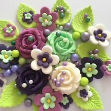 SWEET VIOLETS handmade edible purple sugar paste flowers roses cake decorations