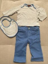 New Baby Boy 7 For All Mankind Outfit 6-9 Month Blue Jeans Top Shirt And Bib Set