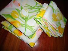 VINTAGE UTICA RETRO FLORAL TULIPS ORANGE YELLOW GREEN PINK (4PC) FULL SHEET SET