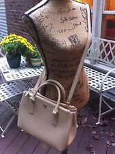 CYBER SALE NWT Tory Burch Robinson Mini Double Zip E/W Tote Shoulder bag-Beige