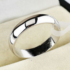 4mm Band Ring Polished Wedding Women Stainless Steel Size Engagement Party