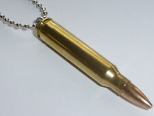 NEW OG Real Bullet Pendant Metal Ball Chain Necklace 223 Remington Brass Casing