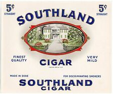 CIGAR BOX LABEL VINTAGE INNER 1934 SOUTHLAND DIXIE SOUTHERN PLANTATION EMBOSSED