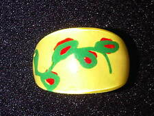 Yellow, Green, and Red Plastic Ring With Abstract Design. Size P.  (J79)