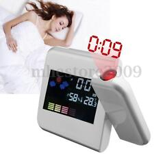 Digital LCD Time Projector LED Colorful Alarm Snooze Clock Weather Thermometer