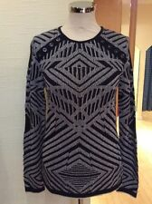 Aldo Martins Sweater Size 14 BNWT Black And Grey Striped RRP £115 NOW £52