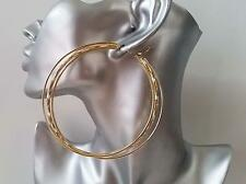 SEXY! HUGE 9cm gold tone oversized 3 row hoop earrings, NEW IN! BIG & FAB