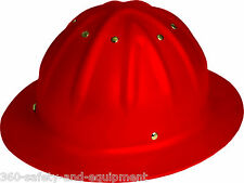 Aluminum Full Brim Hard Helmet 4 Point Ratchet Suspention Hard Hat Red