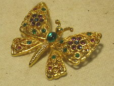 butterfly brooch pin metal moth rhinestone gold-tone insect jewelery jewelry