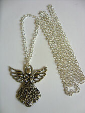 "Angel Gabriel Protection Tibetan Silver Charm Pendant, Long 30"" Chain Necklace"