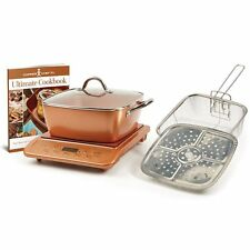 "Copper Chef XL 11"" Casserole 5 pc Set & Induction Cooktop Cooker & Cookbook NEW"