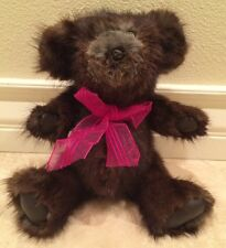 "REAL MINK FUR TEDDY BEAR Handmade Fully Jointed 15"" Leather Pads Burgundy Bow"