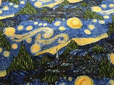 BEAUTIFUL Scenic Sky Starry Night Vincent Van Gogh Inspired Print Fabric BTHY