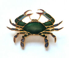 c.1980s Signed WILLIAM SPEAR Bright Teal ENAMEL CRAB BROOCH Hand Finished