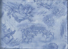 """WILD WEST Cowboys Horses """"RED RIVER II"""" in Blue Toile Cotton Fabric BTY"""
