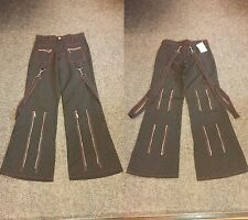 BNWT Black/White Pinstriped Zip/Bondage Straps Trousers Goth/Punk/Steampunk W29