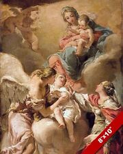GUARDIAN ANGEL TAKING CHILD TO HEAVEN PAINTING CHRISTIAN ART REAL CANVAS PRINT
