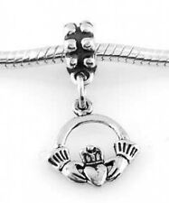SILVER DANGLE IRISH CLADDAGH RING EUROPEAN BEAD