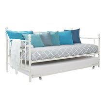 White Metal Bed Full Size Day Twin Pull Out Trundle Kids Guest Bedroom Furniture